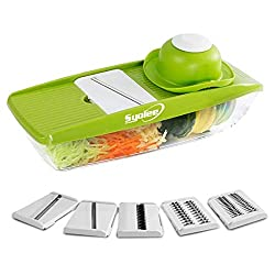 Compact designed therefore does not take a lot of space to store 5 interchangeable sharp blades made from high quality stainless steel, you can use it to chop various vegetable or fruits Non-skid container: there are two grippers on the bottom which ...