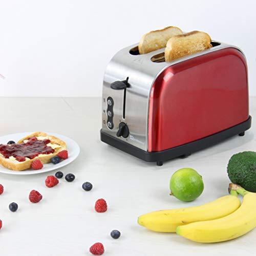 SQ Professional Gems Legacy Toaster mit Aufwärmen, Auftauen und Abbrechen, Edelstahl, 900 W, Rubinrot