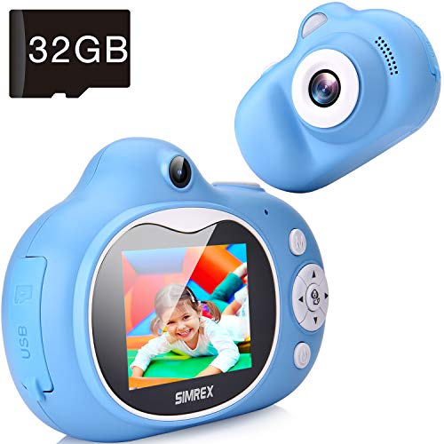 Simrex Kids Camera Mini Children Digital Camera for Kids Video Camcorder Shockproof Toys with 20quot IPS HD Screen Bluetooth Speaker Gift for Child Included 32GB TF Cards