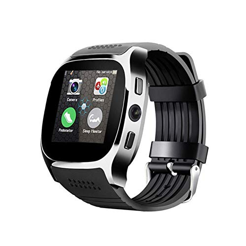 Reloj inteligente Bluetooth con cámara Whatsapp compatible con tarjeta SIM TF llamada deportes smartwatch podómetro para teléfono Android (color: negro)