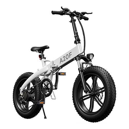 ADO A20F - Fat Tire Bicicletta Elettrica Pieghevole, per Uomo e Donna, 20 x 4,0 Pollici, 500 W, con Batteria Rimovibile da 36 V, 10,4 Ah, 25 – 40 km/h, Ebike è adatta per neve, montagna, sabbia
