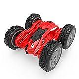 LINXIANG Auto acrobatica telecomandata per bambini, auto acrobatica giocattolo elettrica a doppia faccia telecomandata, 2,4 g con luci a LED, auto girevole a 360 °, che rotola e si torce, macchinina n