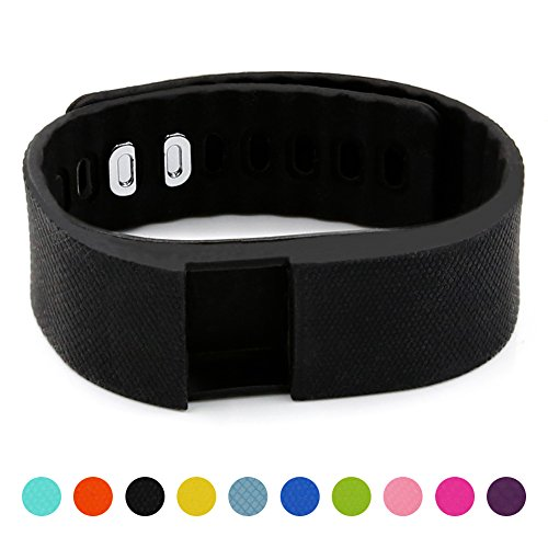 Teslasz Soft Silicone Band Fitness Tracker in 10 Colors for Option,Black