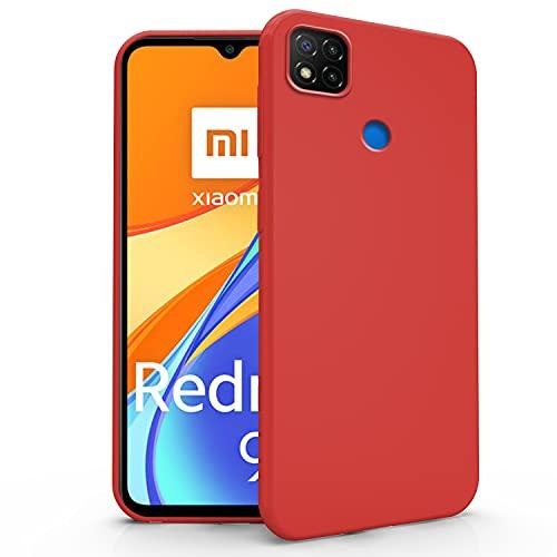 N NEWTOP Cover Compatibile con Xiaomi Redmi 9C, Custodia TPU Soft Gel Silicone Ultra Slim Sottile Flessibile Case Posteriore Protettiva (Rosso)