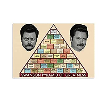 Swanson Pyramid of Greatness Poster Parks And Recreation TV for Room Aesthetic Birthday Gifts for Womenmen Guys 1 Poster Decorative Painting Canvas Wall Art Living Room Posters Bedroom Painting 12x18