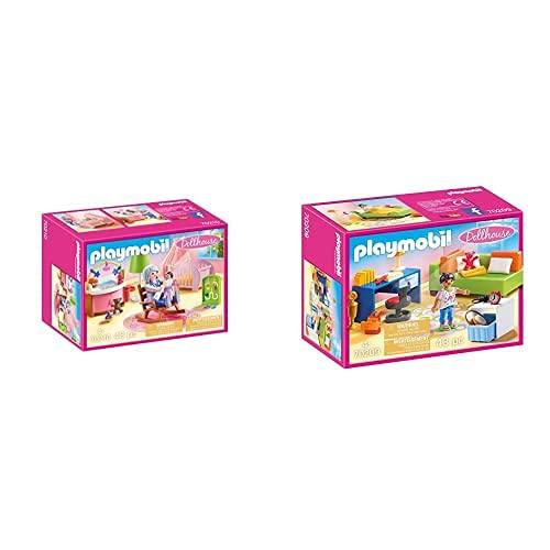 PLAYMOBIL Dollhouse 70210 Habitación del Bebé, A Partir De 4 Años + Dollhouse 70209 Habitación Adolescente, A Partir De 4 Años