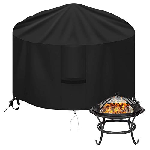 OKPOW Fire Pit Cover, Firepit Covers Waterproof Round-600D,Anti-UV,Heavy Duty Rip Proof Oxford Fabric Firepit Cover, Round Fire Pit Covers-Black (Round-75 * 43cm)