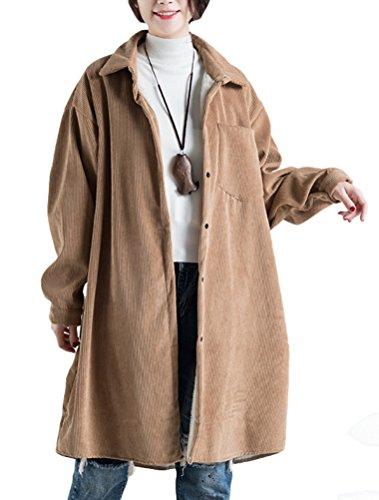 Vogstyle Damen Reverskragen Knopf Fleece Innen Corduroy Jacket Mantel Khaki