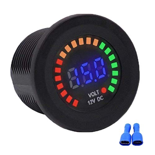 Riloer Voltímetro de Pantalla a Color de 12 V, Adaptador de Cargador de Encendedor de Enchufe de Coche 2 USB, Enchufe de Voltaje Digital de Panel LED de Coche de 12 V DC
