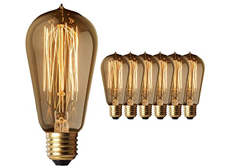 Vintage Edison Light Bulbs (6 Pack) - 60W Old Fashion Squirrel Cage Filament - 120 Volts - 230 Lumens - ST58 Teardrop - Dimmable Antique Amber Lighting - Warranty Included