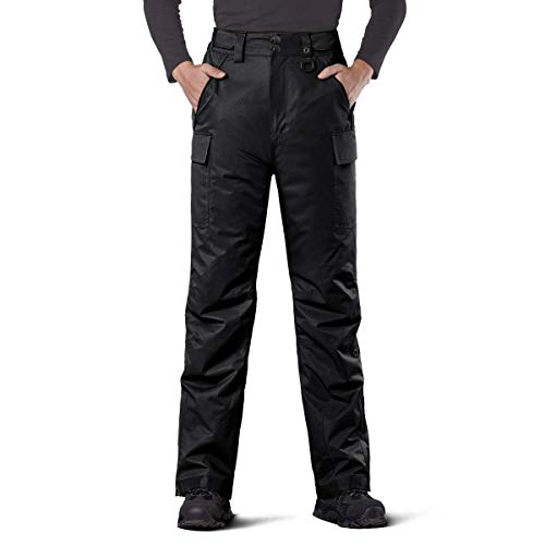 FREE SOLDIER Men's Waterproof Snow Insulated Pants Winter Skiing Snowboarding Pants with Zipper Pockets (Black, Large Waist: 36-38 Inseam: 30)