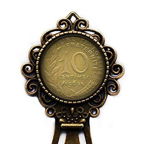Xubu - Suministros de Lectura de Monedas Vintage, Moneda Francesa 10 Yuan marcapáginas, Regalos para coleccionistas de Monedas