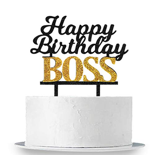 Happy Birthday Boss Cake Topper, Glitter Acrylic Baby Boy 1st Birthday Cake Topper,Kid's and Adults Birthday Party Decoration Supplies, Double Color