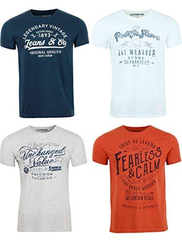 riverso Herren T-Shirt Rundhals RIVLeon 4er Pack O-Neck Kurzarm Print Tee Shirt 100{d27472fc84145977c46ae92048dc1c5e36bd8268914b2fdcf5131faf8223bd4e} Baumwolle Regular Fit Grün Blau Weiß Grau Rot Orange S - 5XL, Größe:3XL, Farbe:Farbmix 11