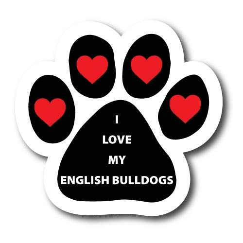 Magnet Me Up I Love My English Bulldogs Pawprint Car Magnet Paw Print Auto Truck Decal Magnet