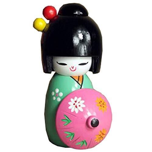 Black Temptation 5 Zoll Japanische Geisha Puppe Sushi Restaurant Dekoration Ornamente Handwerk Geschenk Japanische Puppe Kimono Puppe Spielsets (Grün)