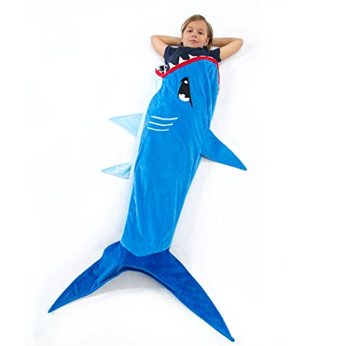 Echolife Shark Tail Blanket Super Soft Minky Shark Sleeping Bag for Kids Age 3-12 Years Old - Designed (Blue Shark)