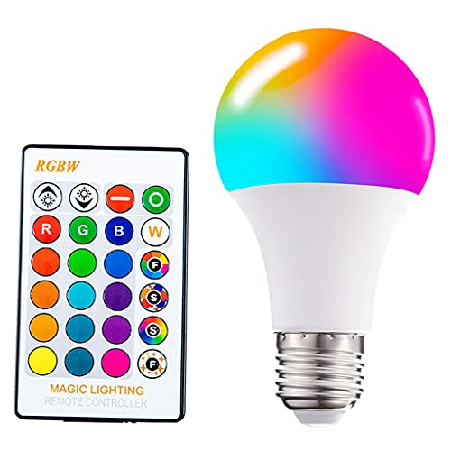 FLAMEER Bombilla de luz LED RGB E26 E27 Base de Tornillo Que Cambia de Color Luz de Humor Control Remoto Lámpara de luz puntual para Bares, Fiestas, galerías, 70X130MM 15W