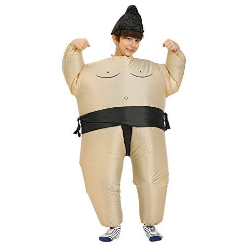 Qeedio Aufblasbares Sumo Ringer-Kostüm Faschingskostüm Lustiges Sumo Wrestler Kostüm Halloween Bühne Auftritte Party Outfit, Kinder