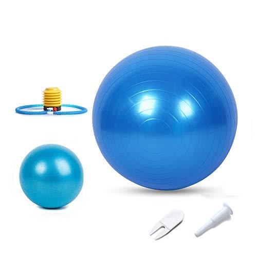AtSKnSK Gym Yoga Ball und Mini Pilates Ball Set Anti-Burst & extra Dicker Schweizer Geburtsball Indoor Workout Fitness Training Stretching Geburt (Blue)