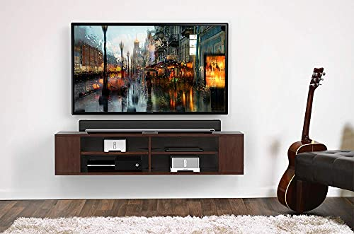 FITUEYES 2 Tier Floating Media Console Wall Mounted Tv Console Stand 60 Inches, Brown…