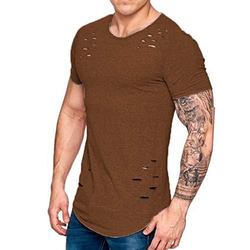 T-Shirts Für Herren, Loch Zerrissene T-Shirts Männer, Kurzarm T-Shirt Fitness Sommer Kleidung Lustige Solide T-Shirt Streetwear Schlanke Tops T-Shirts,G,3XL