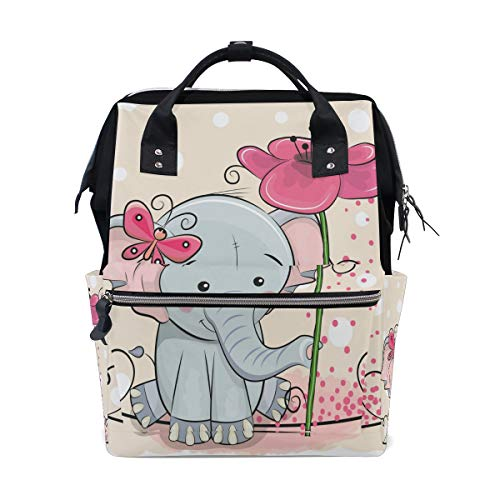 Unimagic Lovely Elephant Butterfly Flower Diaper Bag Backpack Multi-Function Organizer Large Capacity Waterproof Durable Nappy Bags for Mom Dad Women Men