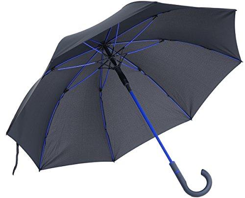 vanVerden - Automatik Regenschirm - Sturmfest (TÜV geprüft), Windfest, Leicht, Stabil - Fiberglas Rahmen 112cm Durchmesser, 90cm Länge, Farbe:Anthracite/Euroblue