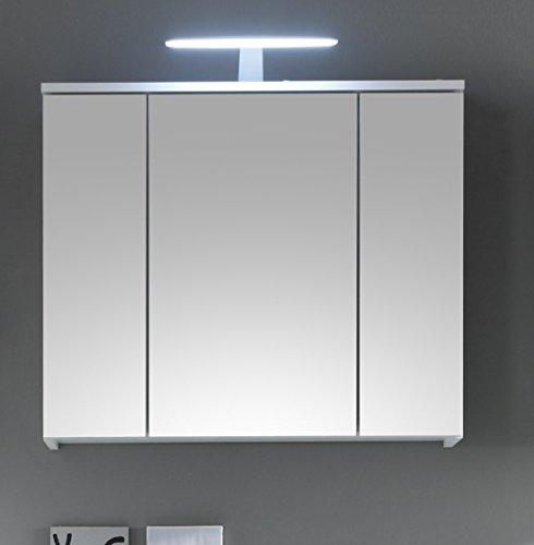 Stella Trading Spice Spiegelschrank, Holzdekor, Weiß, ca. 80 x 67 x 20 cm