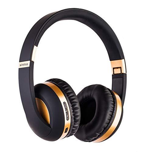 YISHE-JUN Auriculares Mh4 Auriculares inalámbricos Bluetooth 5.0 Tarjeta Plegable Radio Auriculares Bluetooth El Hogar, O En La Oficina (Color : Deep Golden, Size : One Size)