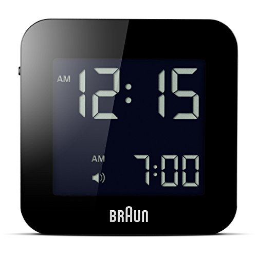 Braun Digitaler Reisewecker mit Schlummerfunktion, kompakte Größe, negatives LC-Display, Schnelleinstellfunktion, Alarmfunktion, in Schwarz, Modell BNC008BK