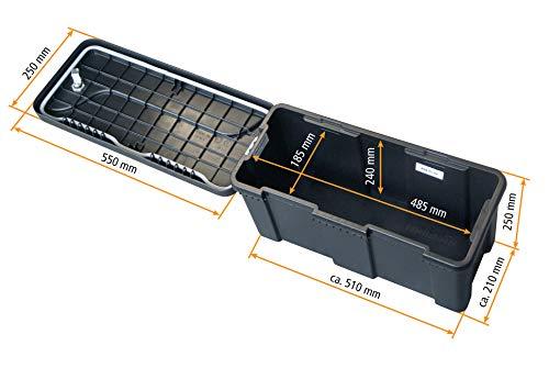 Deichselbox mit Schloss, Werkzeugkasten für Anhänger Staukiste 23 ltr Anhängerbox, Daken B23-1 - 3