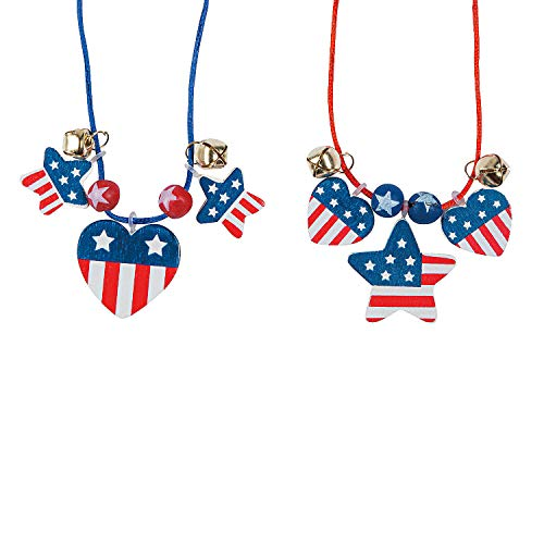 Patriotic Wood Necklace Craft Kit - Crafts for Kids and Fun Home Activities