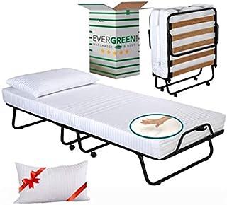 Evergreenweb – Cama Plegable con colchón Individual viscoelástico 90x200 y viscoelástico Gratis, somier de láminas de Made...