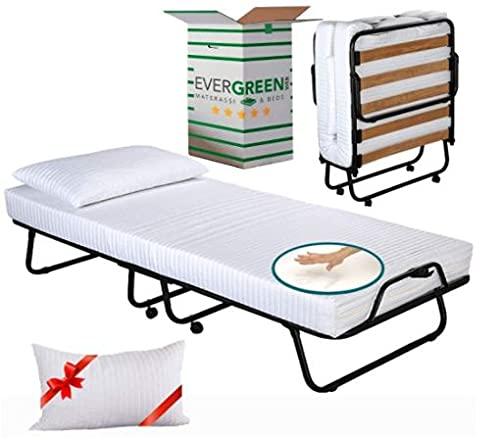 Evergreenweb – Cama plegable con colchón de espuma viscoelástica 90 x 200 x 10 cm + cojín gratis, funda desenfundable, somier individual de láminas de madera ortopédica, cama ahorra espacio