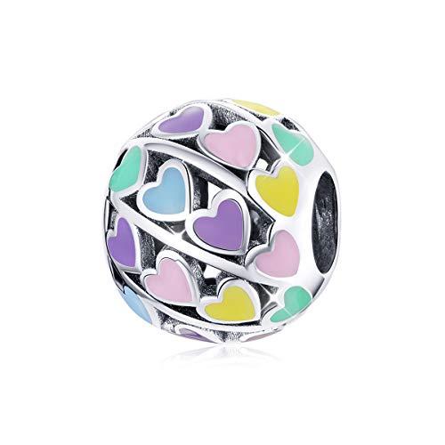 Abalorio de plata de ley 925 con forma de corazón arcoíris compatible con pulsera Pandora