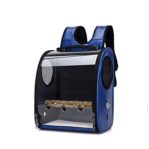 Pet Backpack Parrot Outing Backpack Medium Lightweight Transparent Starling Cage Carrying Case Space Bag Suitable for Indoor and Outdoor Travel (Color : Blue, Size : 33x38x17cm)