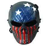 Byshen Airsoft Mask,Skull Full Face Mask with Metal Eye Protection Captain