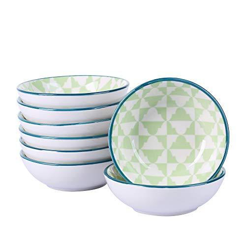 vancasso Midori Set 8 Pezzi Tapas Vassoi in Porcellana Set di Ciotole Ceramica Combinazione Piattini, Vassoi per Aperitivi e Tapas Fruttiere Insalatiere Colore Verde