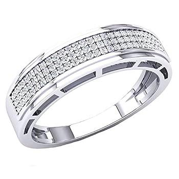 Dazzlingrock Collection 0.25 Carat  ctw  Round White Diamond Men s Hip Hop Anniversary Wedding Band 1/4 CT 10K White Gold Size 9