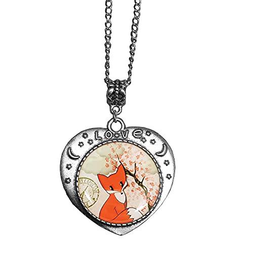 Fox Collar con colgante de animal pequeño collar para mujer, joyería de cumpleaños, regalo de aniversario para ella, día de la madre-#126