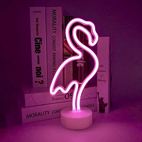 ENOULI Flamingo Neon signes lumière rose néon LED d'art décoratif avec support de base table lumineuse Marquee Signes/mur décoration de chambe Kids Birthday Party Light Bar Wedding Party loisirs