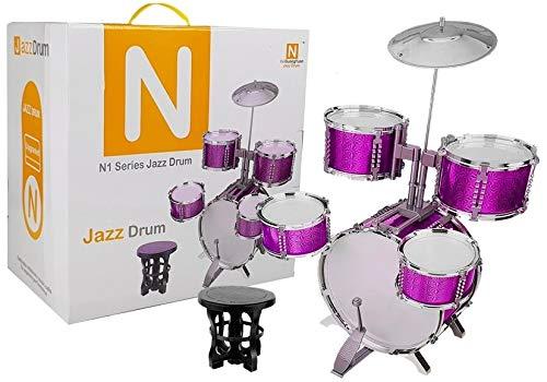 BSD Musik Spielzeug, Kinderschlagzeug, Schlagzeug Drumset, Kinder Trommel Set, Schlagzeug mit 5 Trommel und Hocker - Rosa