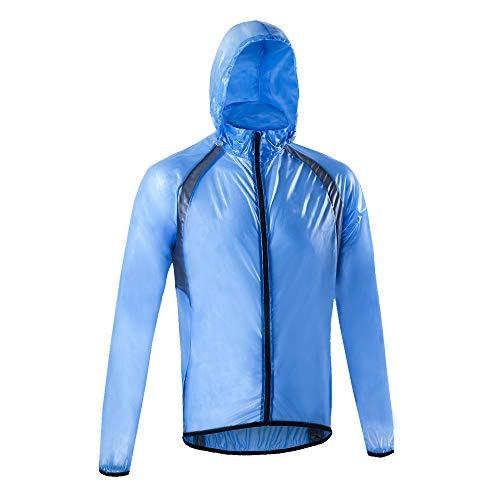 Dooy Men's Cycling Rain Jacket Waterproof Lightweight Raincoat Hooded Bike Running Windbreaker(Blue,XL)