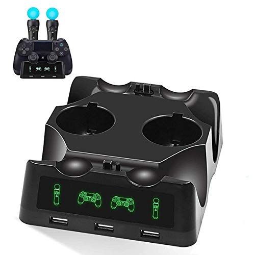 YICHUMY 4 in 1 Desk Charger Dock Quad Charging Station for PS Move Motion and PS4 Controller Playstation 4 PS4 Slim PS4 Pro (Dual Charger Dock for DualShock Controller + Dual Charger Port for PS Move