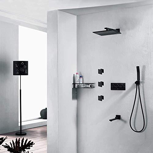 CY Cuarto de baño moderno oculta todo el cobre de pared Negro 4-función de ducha superior cuadrada spray ducha de mano Sistema de Rotación de agua del botón del grifo caliente y frío hermoso práctica
