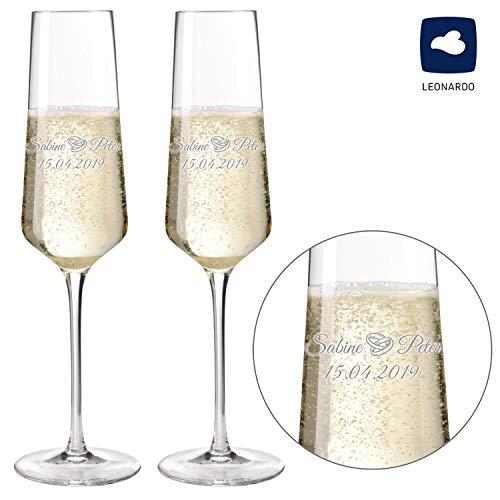 Sektgläser - Champagnergläser 2er Set Modern 220ml mit Gravur als Geschenk zur Hochzeit | Namen und Datum personalisierbar | Verschiedene Motive (Motiv Ringe (2er Set))