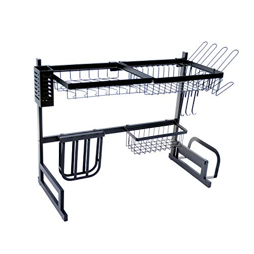 AKOZLIN Over Sink (Size 24 2/5 inch) Stainless Steel Drainer Rack Kitchen Shelves Drip Kitchen Supplies Bracket Kitchen Dish Drying Rack with Cup Holders
