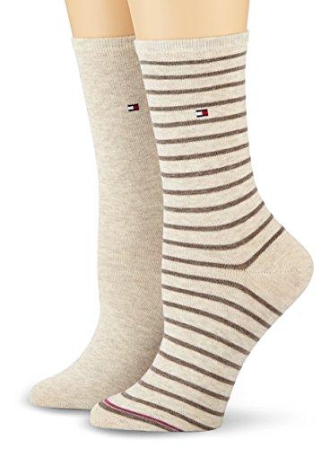 Tommy Hilfiger Damen TH WOMEN SMALL STRIPE 2P Socken, Beige (light beige melange 360), 39/42 (2er Pack)