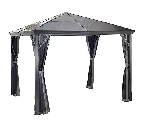 Aluminium Pavillon Überdachung Gazebo Verona 10x10 mit Doppelstegplatten inkl. Moskitonetz // 298x298 cm (BxT) // Gartenlaube mit Doppelstegdach von Sojag